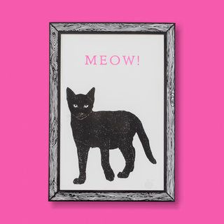 Black Cat MEOW! Art Print A3