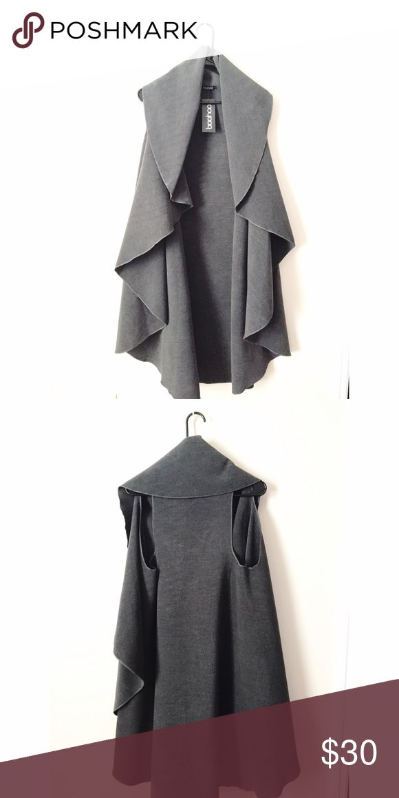 Waterfall Sleeveless Vest Coat A charcoal gray colored midi vest. I'm open to reasonable offers. Please let me know if you're interested and we can work something out. Boohoo Jackets & Coats Vests