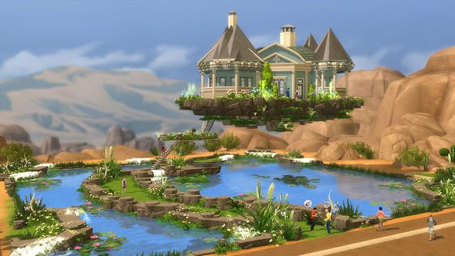 Sims 4 Lot Flying Dream Home By Anja Gersti Sims 4 Houses Sims 4 House Design Sims