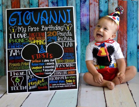Customized Mickey Mouse first birthday chalkboard sign or poster for childs birthday party and/or birthday photo shoot! **This listing is for