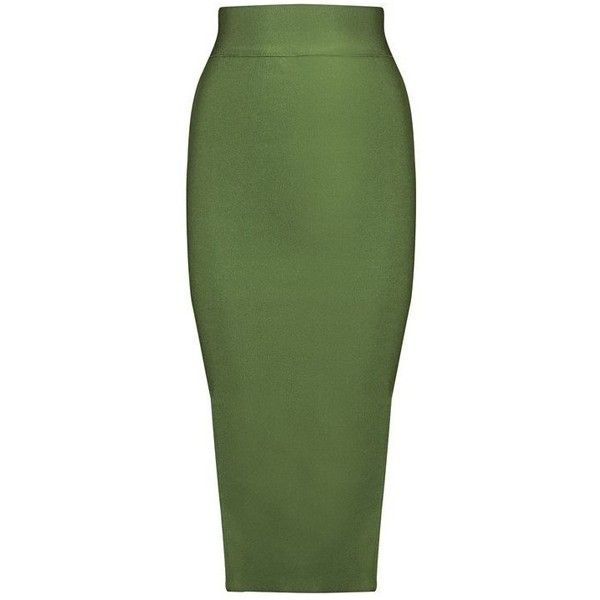High Waist Midi Length Pencil Bandage Skirt ($69) ❤ liked on Polyvore featuring skirts, high-waisted skirts, green pencil skirt, high-waist skirt, olive pencil skirt and high waisted midi skirt