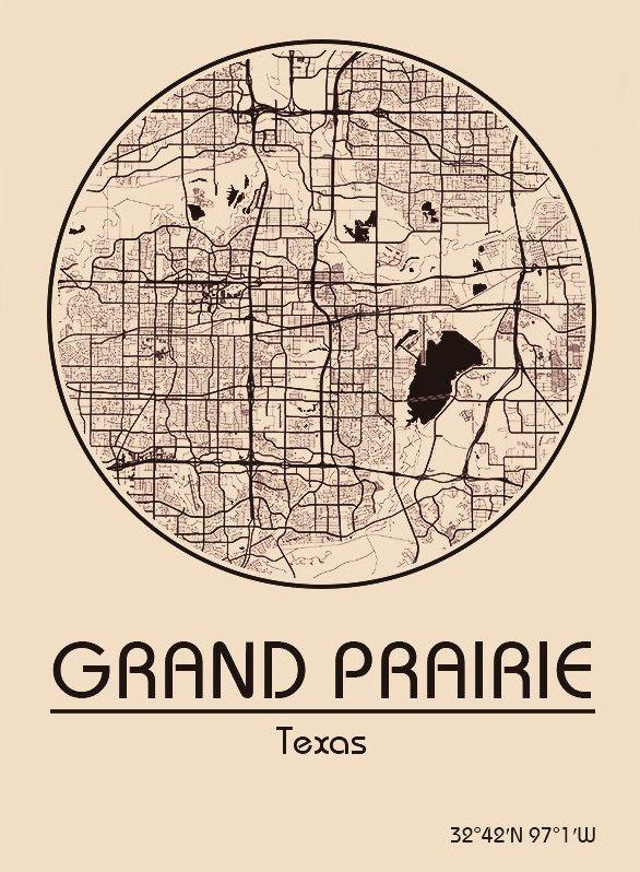 Karte / Map ~ Grand Prairie, Texas - Vereinigte Staaten von Amerika / United States of America / USA