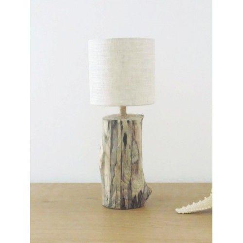 Lampe bois flott abat jour rond lin 13cm nature zen for Abat jour bois flotte