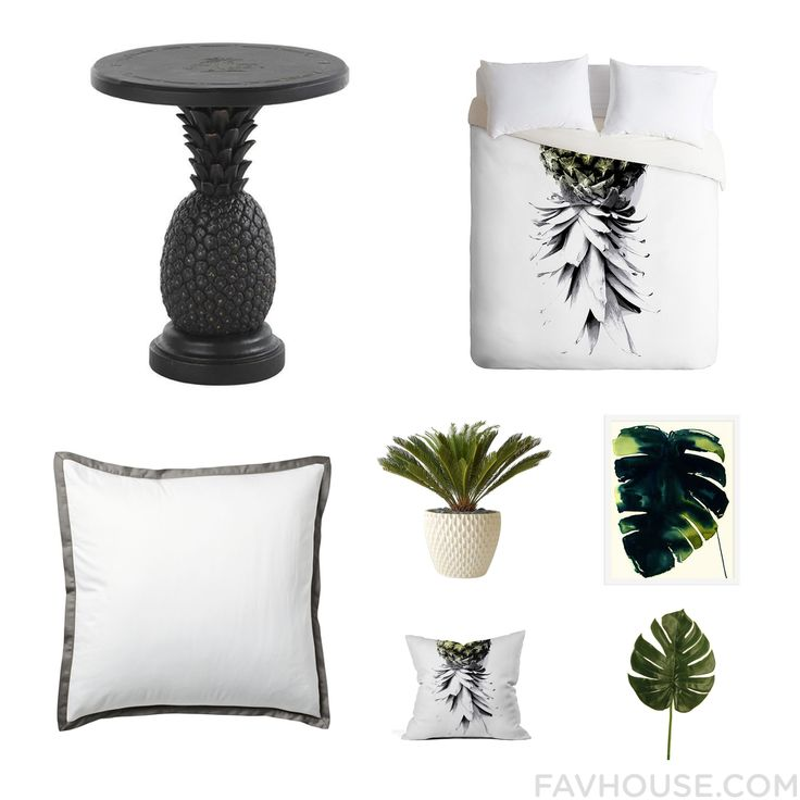 Interior Design Assortment Featuring Tommy Bahama Accent Table Tropical Bedding Serena & Lily Bed Accessories And White Planter From September 2015 #home #decor