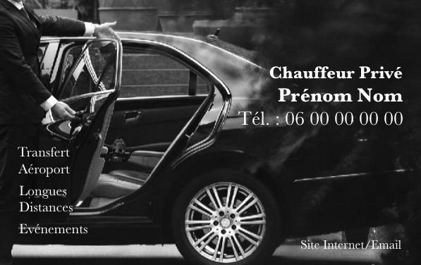 Carte de visite taxi, créez gratuitement à partir de modèle en ligne votre Carte de visite VTC, véhicule de tourisme avec chauffeur, chauffeur privé