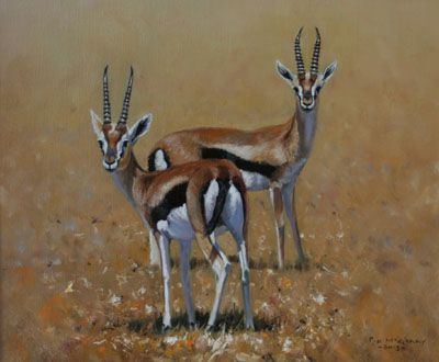 Pip McGarry  The Thompson Twins   Oil - 12 by 10 Inches  $4,400 www.trailsidegalleries.com  #paintings #art #africa #african art