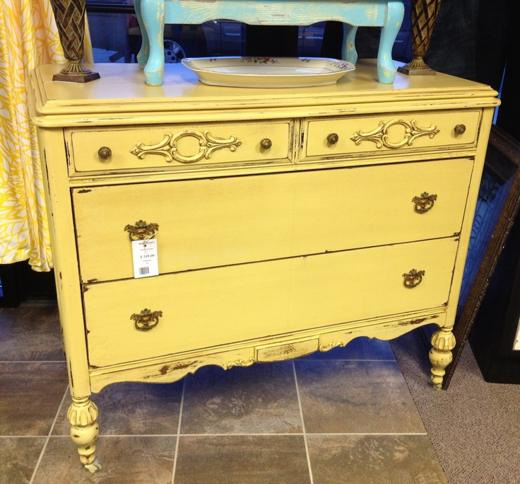 22 Gel Stain Kitchen Cabinets As Great Idea For Anybody: Vintage Yellow Dresser With Gel Stain.