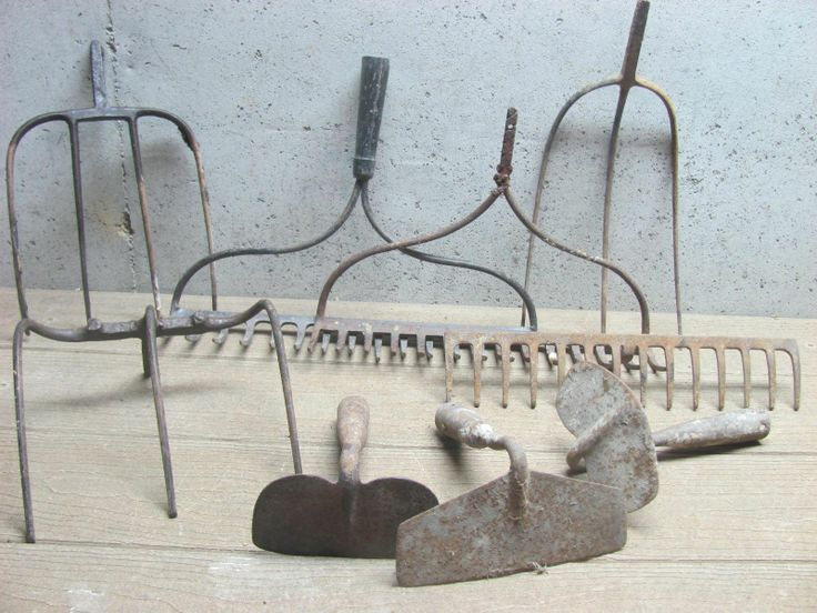 Lot of 9 Antique Rakes Pitch Forks Hoes - Primitive Re-Purpose picclick.com