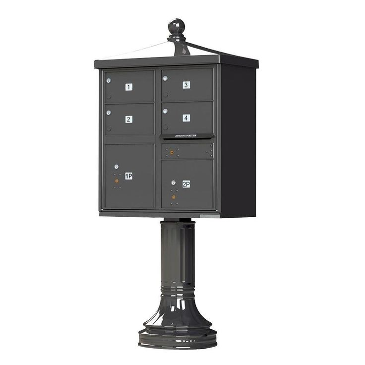 1570 Series 4 Large Mailboxes, 1 Outgoing, 2 Parcel Lockers, Vital Cluster Mailbox with Vogue Traditional Accessories,