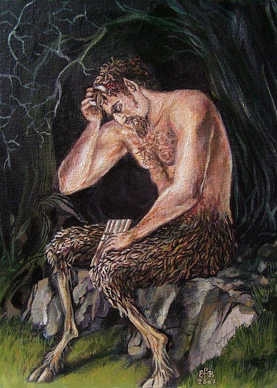 Satyr Griekse mythologie heidense God - 5 x 7 lege wenskaart