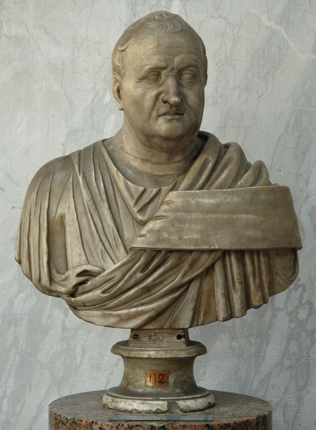 Gnaeus Domitius Ahenobarbus, Roman consul (year 32 BC), member of the Julio-Claudian dynasty, son of Antonia the Elder, great-nephew of Augustus, brother of Messalina, husband of Agrippina the Younger, father of Emperor Nero, Roman bust (marble), 1st century BC - 1st century AD, (Musei Vaticani, Vatican City).
