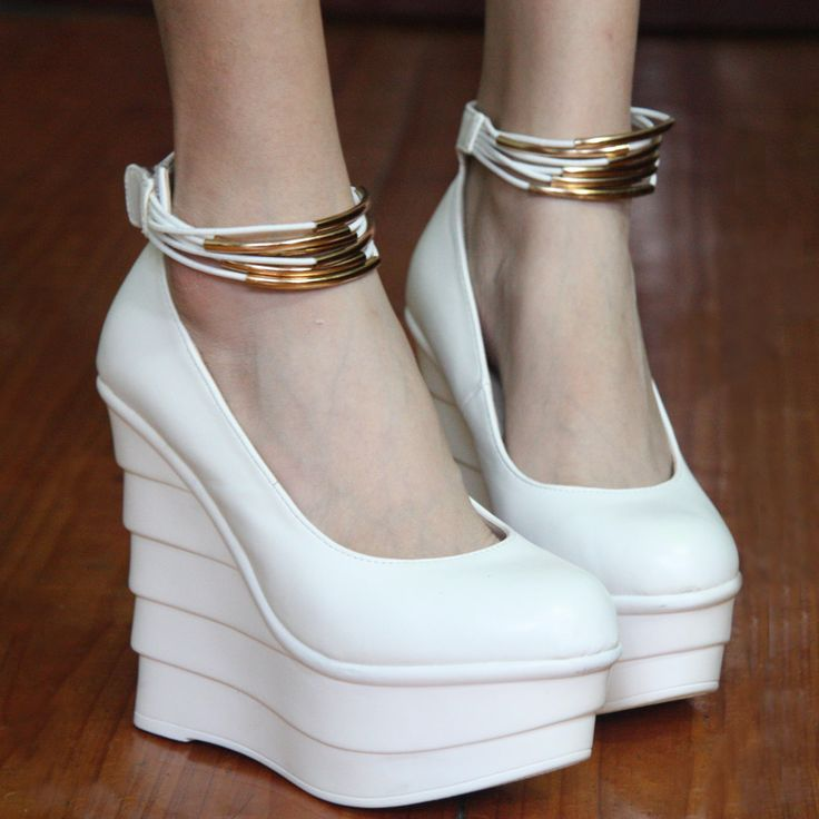 free shipping pleated platform belt wedges comfortable all