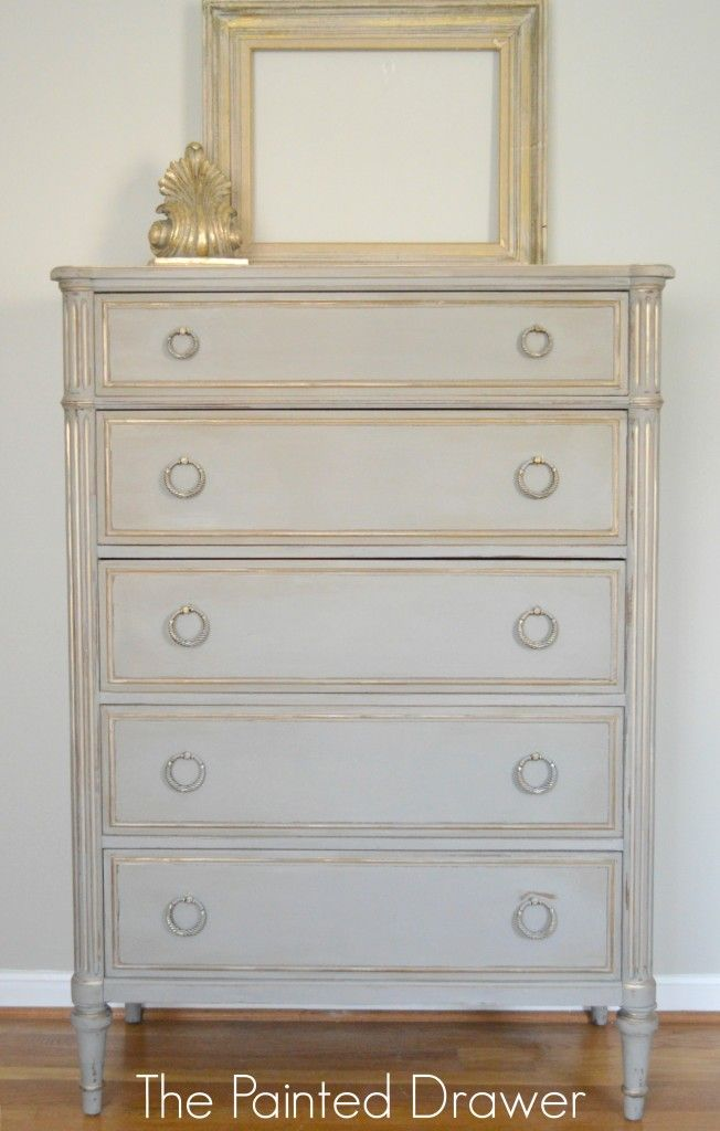 After fixing the feet and shoring up the whole piece with wood filler, glue and sandpaper, I used French Linen with gold highlights to transform this chest into a beauty.  I believe it looks straight out of an old French chateau.