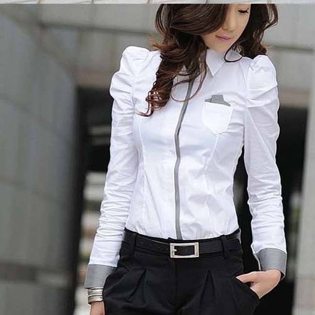 New Fashion Office Lady White Shirt 2013 Korean Casual Design Top Size S-2XL Noble Charm Women Formal Blouse Free Shipping D1086 $22.60