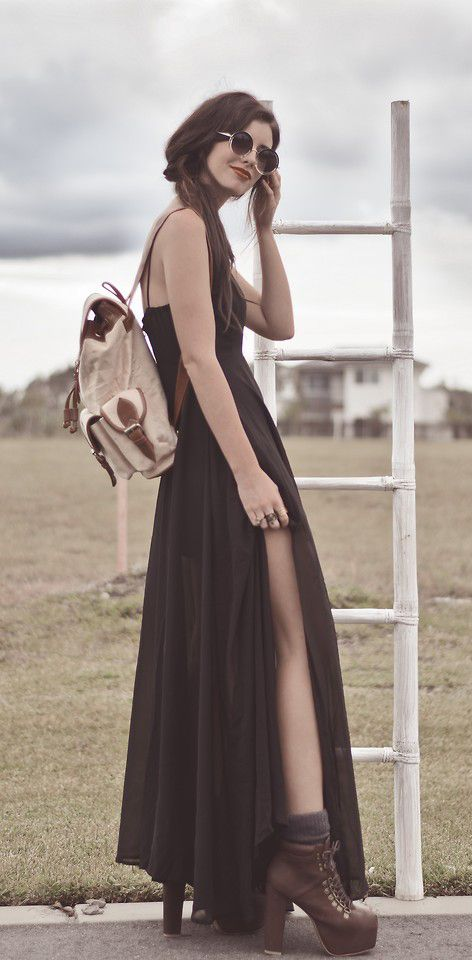 Draping chiffon dress with laced up heeled boots and backpack - http://ninjacosmico.com/11-ways-wear-black-dresses-summer/