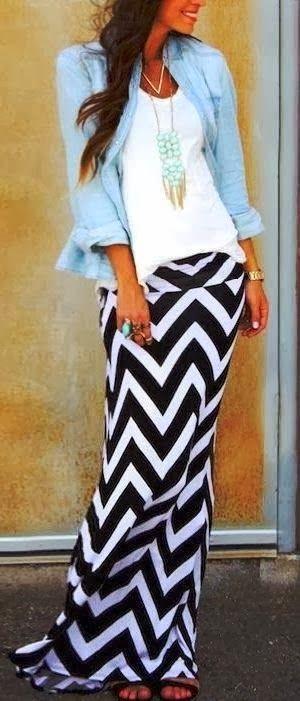 Chevron Maxi Skirts