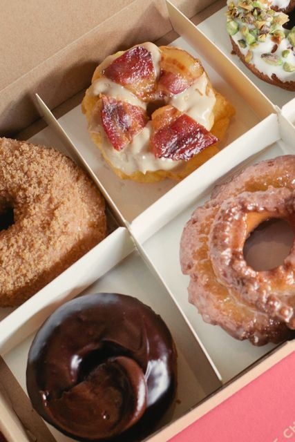 6 Favorite Glazed Fried Donuts: Funky Monkey donuts flower, cupcake flavors, Pistachio-Meyer Lemon, Chocolate Iced Bavarian, and more!