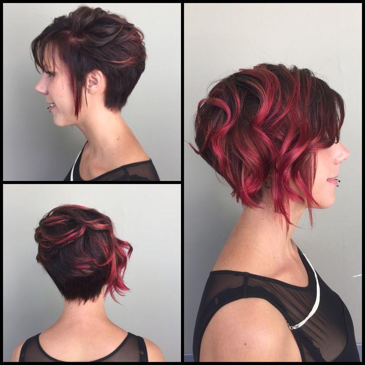 concours examen brevet de matrise coupe asymtrique couleur en dgrad de rouge violine - Coloration Cheveux Violine