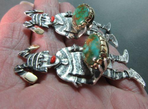 PHILANDER-BEGAY-OOAK-Tufa-Cast-KOSHARE-KACHINA-CLOWN-14k-925-Royston-Earrings