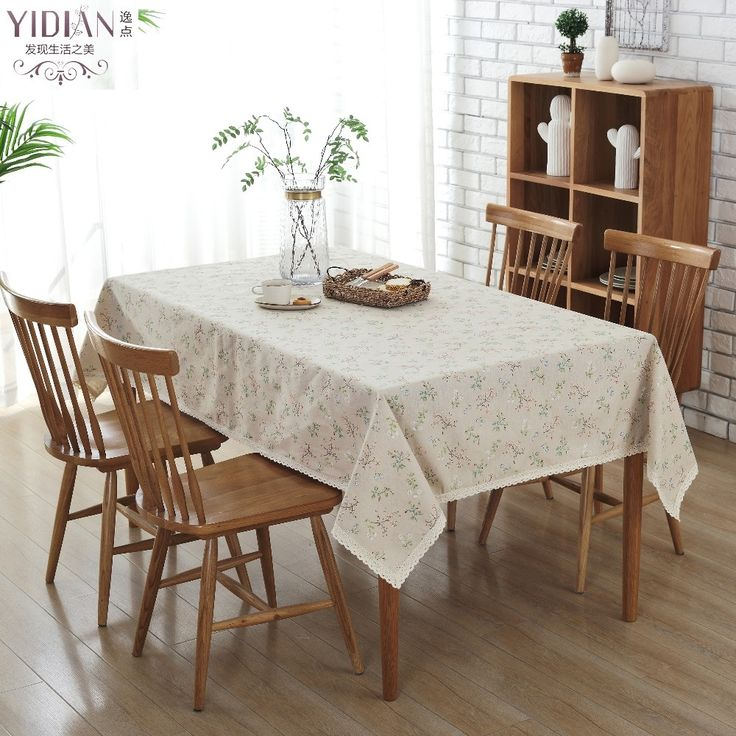 Korean Style Tablecloth Flower Pattern Lace Edging Table Cloth Rectangular For Outdoor Party Manteles Para Mesa Tafelkleed