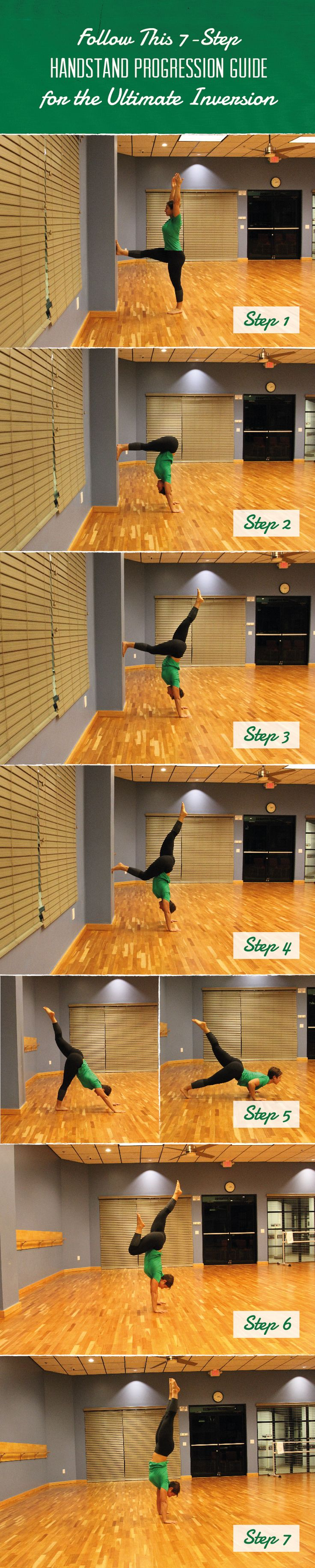 Follow these 7 simple steps for a handstand progression guide guaranteed to increase your upper-body strength, balance and confidence. Get inverted today!