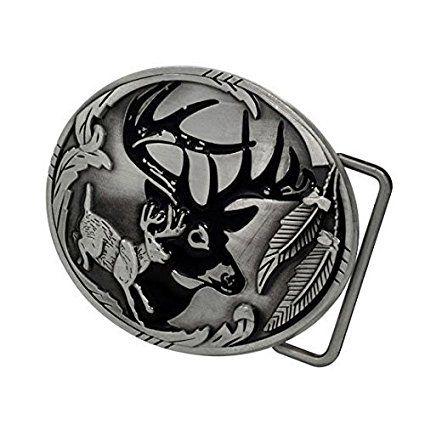 Buckle Rage Adult Men's Deer Hunter Buck Woods Hunting Belt Buckle Silver