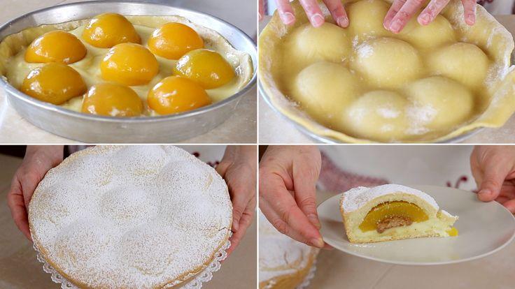 Crostata pesche e amaretti, una crostata alla crema con ripieno a sorpresa! Pasta frolla senza burro veloce e facilissima per un dolce a forma di fiore!