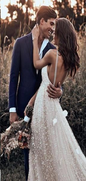 Simple Bridal Gown Wedding Dresses, TYP1375 Open Back Straps Simple Bridal Gown Wedding Dresses, TYP1375