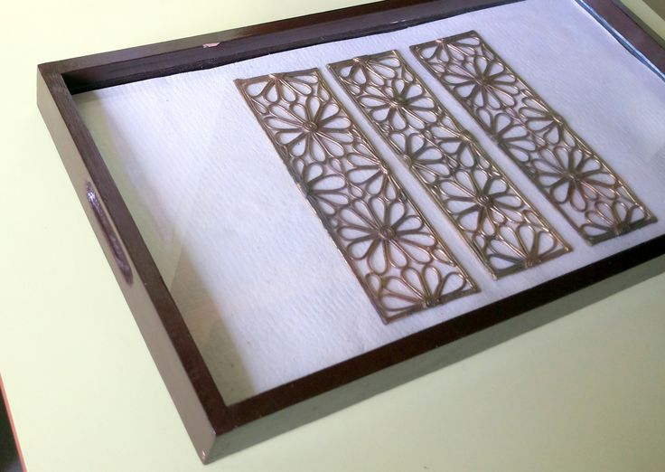 Handmade wooden tray with brass ornamentation
