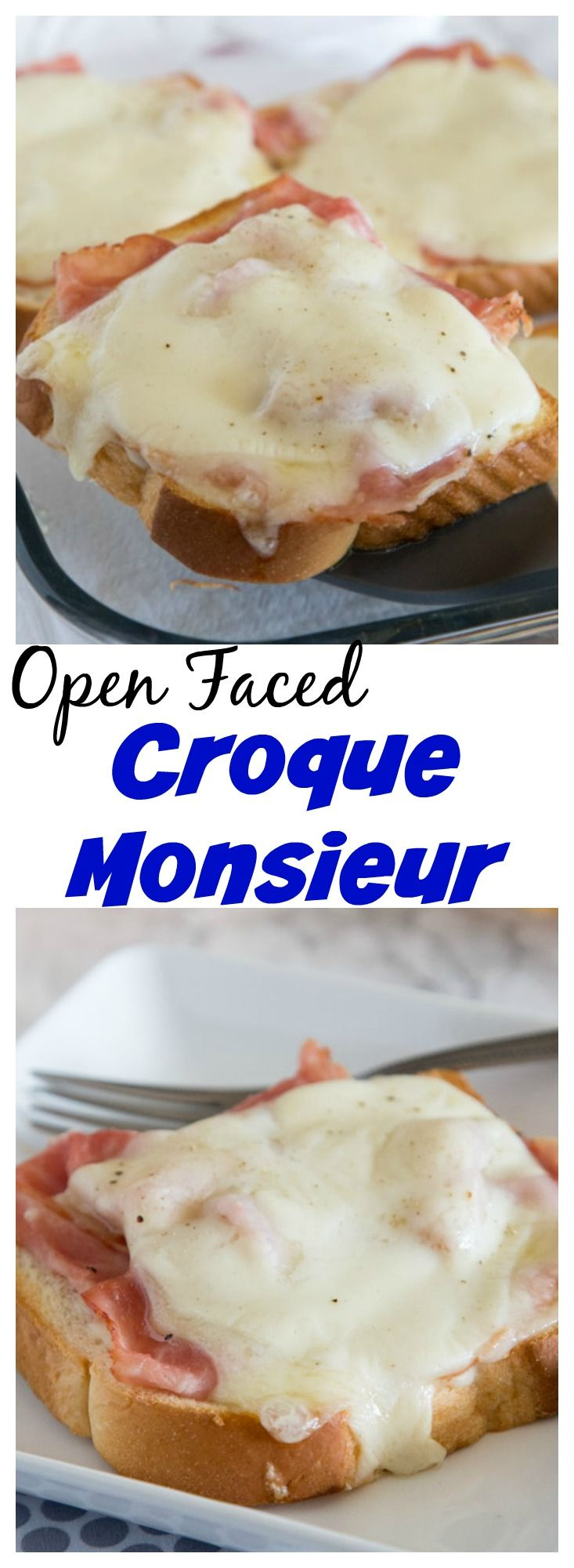 Open Faced Croque Monsieur – a traditional croque monsieur sandwich, with sliced ham, Gruyere cheese, mustard and a creamy sauce served open face on soft and tender old fashioned butter bread.