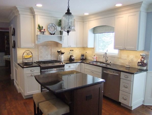 Cliqstudios Painted White Kitchen Cabinets In The Dayton Style Bump Out Microwave Cabinet