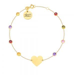 Złota bransoletka z kolorowymi kamieniami i dużym serduszkiem.  Wygląda na ręce bardzo ładnie.  Całość złoto 14k próba 585  Doskonała na prezent dla ukochanej