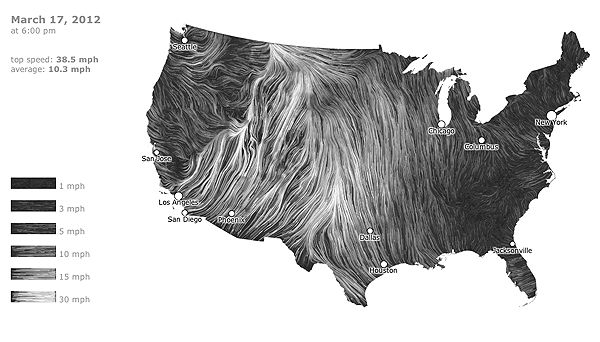 US wind speeds map, tracking data in real-time