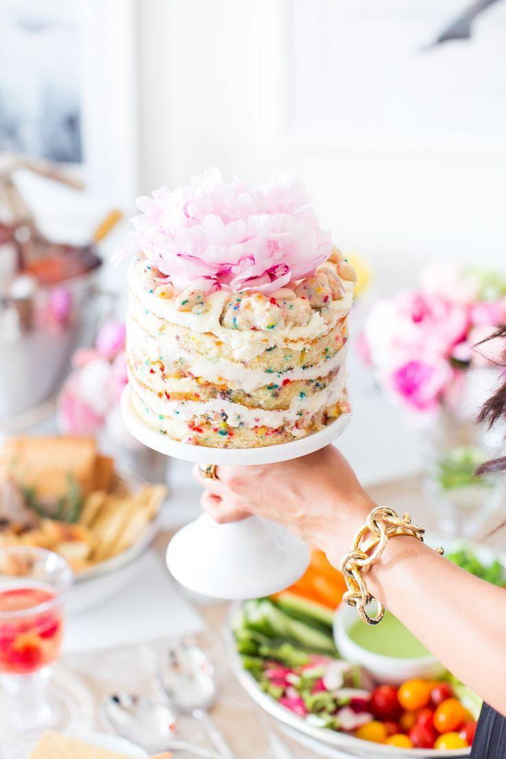 beautiful layered funfetti cake