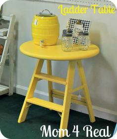 IDEAS & INSPIRATIONS: Yellow Ladder Table - Ladder Decorations Ideas