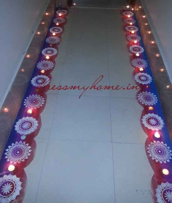 diwali entrance border with rangoli stencils - prettty