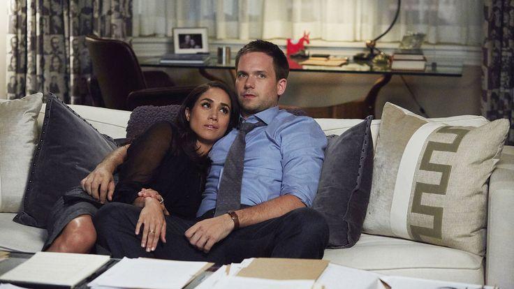 Meghan Markle stars as Rachel Zane and Patrick J. Adams stars as Mike Ross in season 6.5 of Suits.