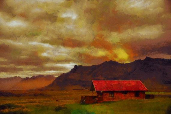 Icelandic Summer Home  canvas print by ArtbyOlafur on Etsy, $73.00