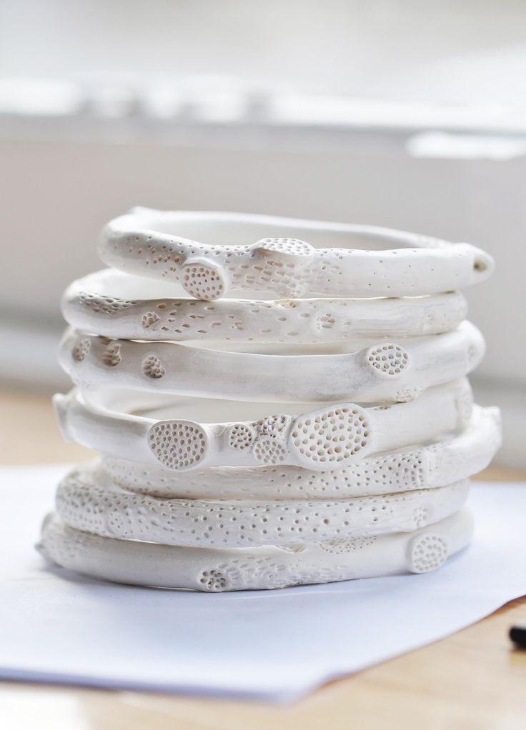 Bangles | Katherine Wheeler. 'Rock coral' Porcelain.