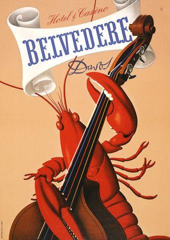 Rock Lobster. Belvedere Hotel & Casino, c. 1930s. $15 #vintage #lobster #casino