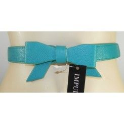 Impulse narrow jade green artificial leather belt with elastic back bow on front