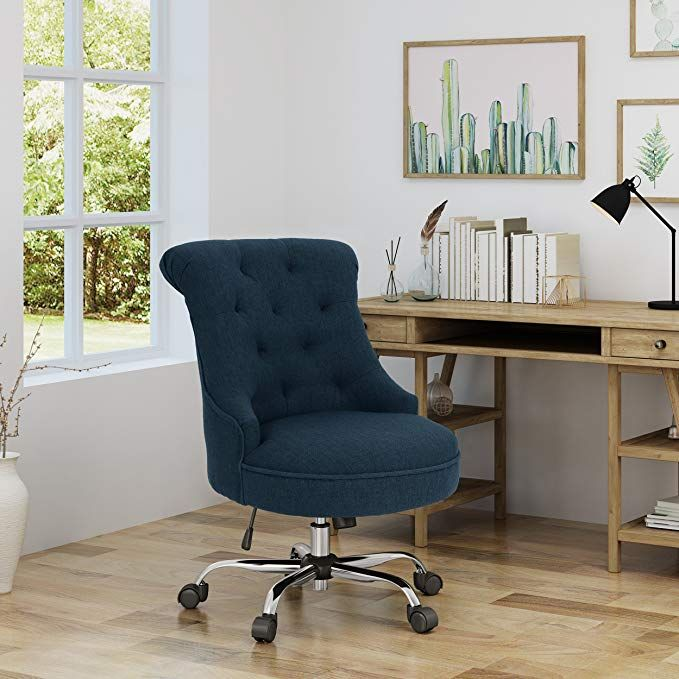 Tyesha Home Office Fabric Desk Chair Navy Blue Home Office