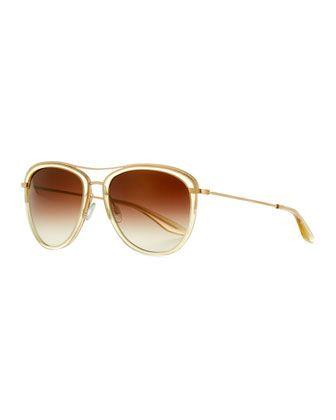 Universal+Fit+Aviatress+Aviator+Sunglasses,+Champagne+by+Barton+Perreira+at+Neiman+Marcus.