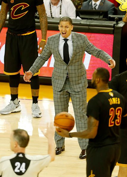 Cleveland Cavaliers head coach Tyronn Lue reacts after a foul call during the fourth quarter in Game 7 of the NBA Finals on June 19 2016 in Oakland...