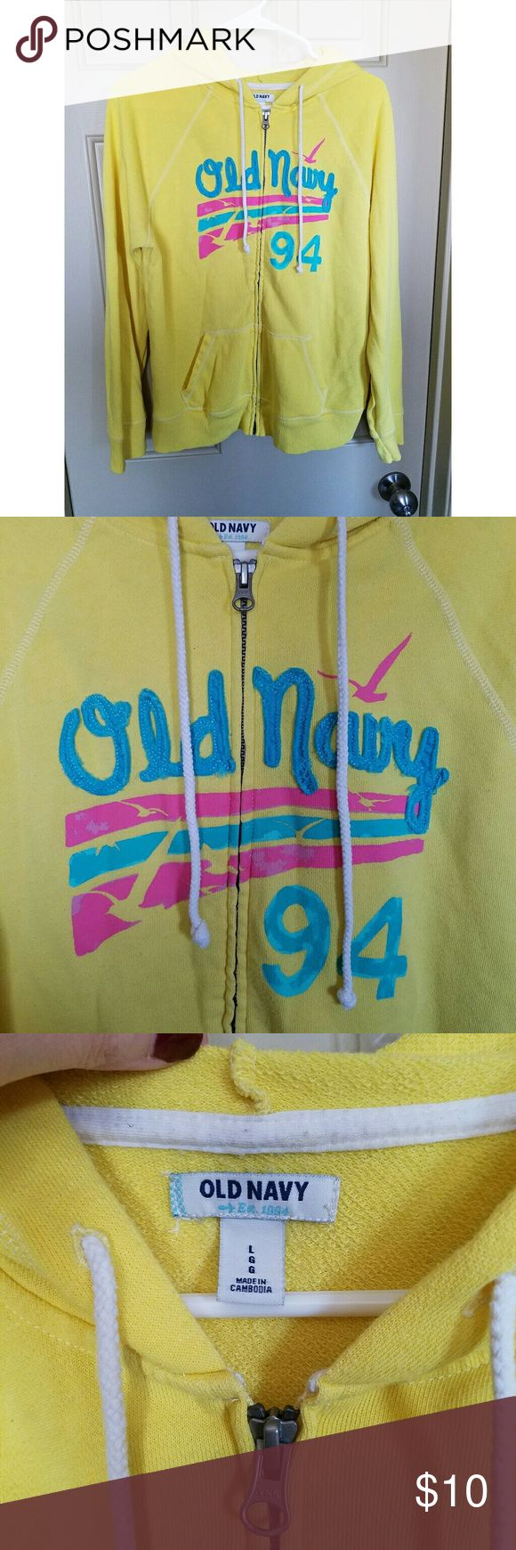 Old Navy Large yellow jacket Old Navy Large yellow zip up jacket! Used but still in good condition! Old Navy Jackets & Coats