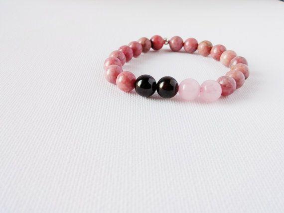 Rhodonite Garnet and Rose Quartz Mala Bracelet by AumShantiDesigns