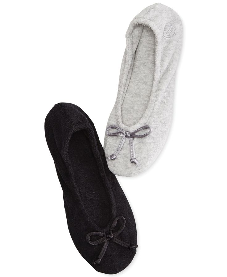 Isotoner Signature Terry Ballet Flat Slippers with Satin ...