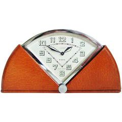 Rare Swiss Art Deco Fan-Shaped Auto Wind Eight-Day Mechanical Travel Clock.