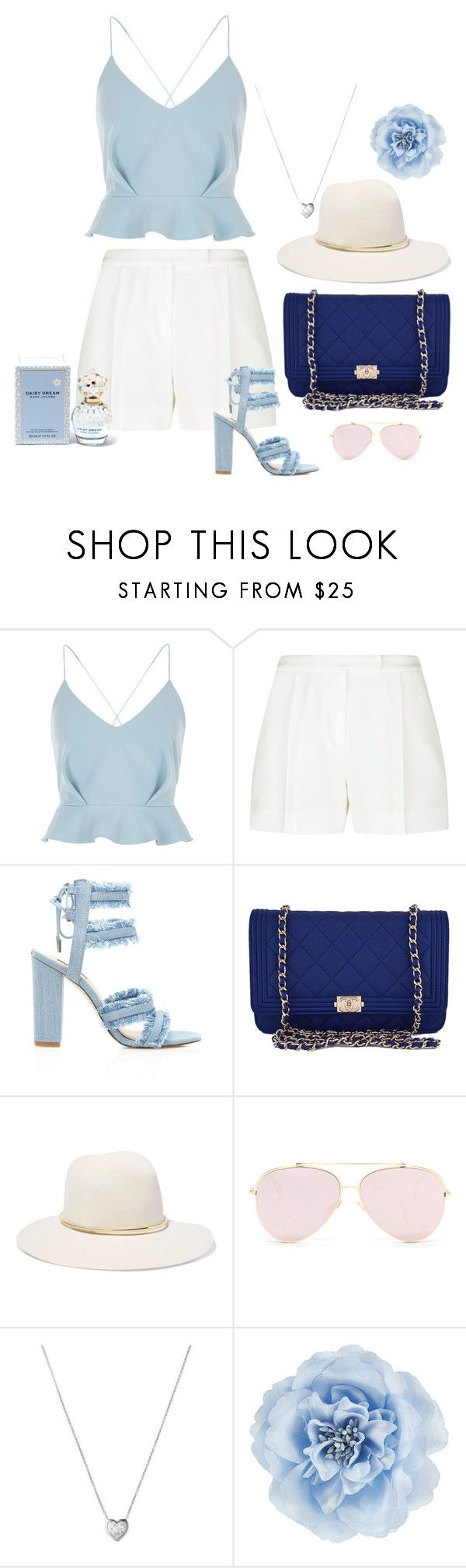 Untitled #54 by nicole-perestrelo21 on Polyvore featuring River Island, Elie Saab, Chanel, Links of London, Janessa Leone, Monsoon, Marc Jacobs, Blue, marcjacobs and daisydream