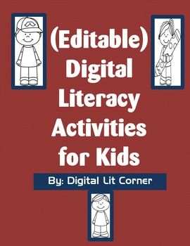 Digital Literacy Activities for Kids (Editable Version). Pre-made worksheets and they can be edited to fit your evidence based learning or digital literacy lesson! #Digitalliteracy #edtech